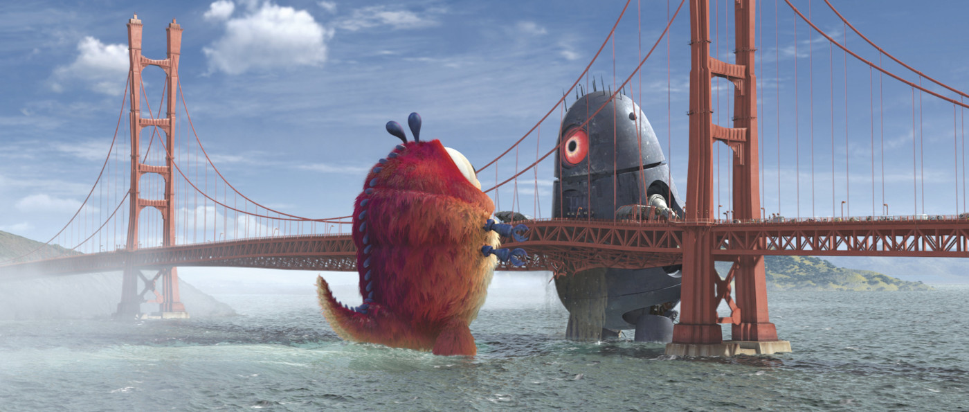 Robots vs Aliens Movie Alien Robot Over a Bridge